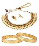 Zeneme Temple Coin Necklace and Temple Coin Gold Plated Bangles combo