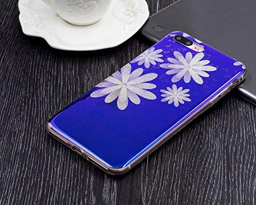 iPhone 7 Plus Custodia Silicone, iPhone 7 Plus Cover TPU, JAWSEU Apple iPhone 7 Plus 5.5 Case Caso Bella Luminoso Floreale Brillante Blu Protezione Cristallo Trasparente Custodia Cover Antiurto Ultra  Floreale #1