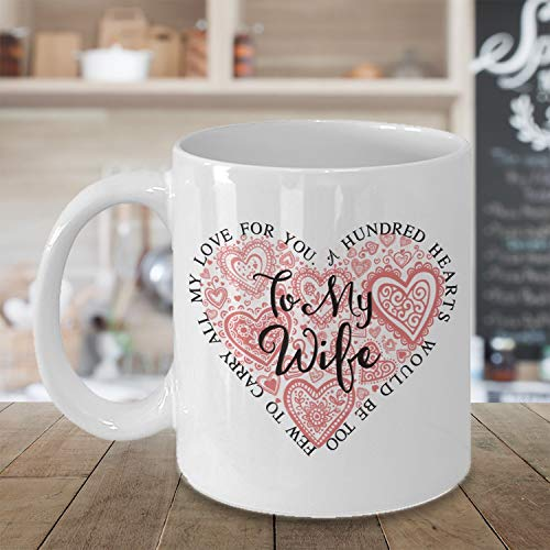 Tasse mit Gedicht zum Valentinstag oder Valentinstag für die Ehefrau, groß