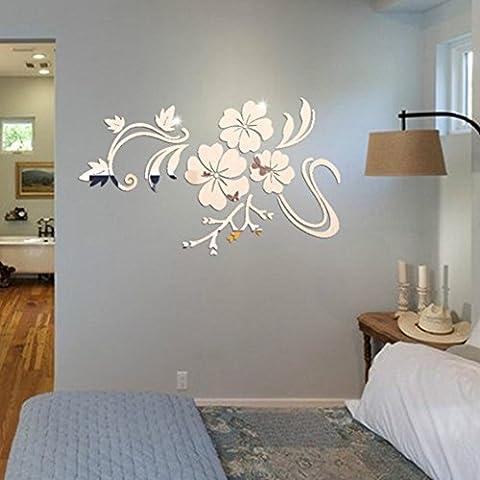 Kingko® 3D Beautiful Flower Acrylic Mirror Side Removable Wall Sticker Art DIY Decal Home Decor (Silver)