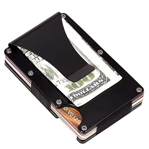 ManChDa Metal Wallet Kreditkartenhüllen Herren Aviation Aluminium Geldbörse Light Slim Kreditkartenhalter Money Clip mit RFID-Blockierung Anti-Dieb Funktion Schwarz