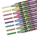 Umitive 8pcs Pennarelli Gesso Liquido, Metallici  Colori, 6mm Punta a Scalpello, Cancellabili, Per  Scrivere Disegni Su Vetro, Lavagna
