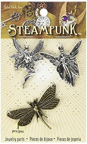 Steampunk en chêne massif en métal Accents Fées, acrylique, multicolore, 3pièces