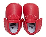 Happy Cherry Zapatos con Borlas Mocasines de PU Piel Suaves Zapatitos Primeros Pasos Calzado Infantil para 9-12 Meses Bebés Niñas Niños Baby Prewalker Shoes Longitud 13cm Talla EU 20-21 Color Rojo