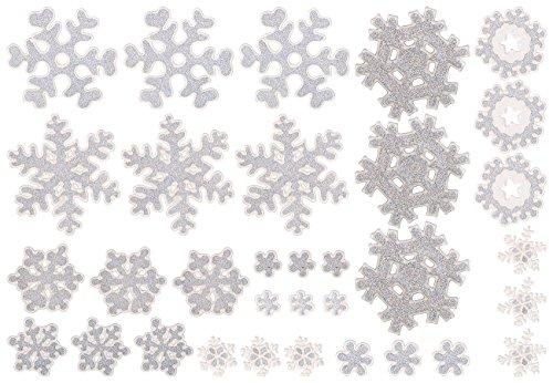 infactory Fensterbilder: 3D-Gel-Glitzer-Fenstersticker im Schneeflocken-Design, 33-teilig (Fenster-Deko) (Schneeflocke-aufkleber Funkeln,)
