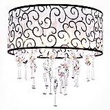 Moderne Rund Drum Shade Crystal Deckenleuchte Leuchter 4 Licht Lampe Pendelleuchte Clear für Wohnzimmer Schlafzimmer Esszimmer