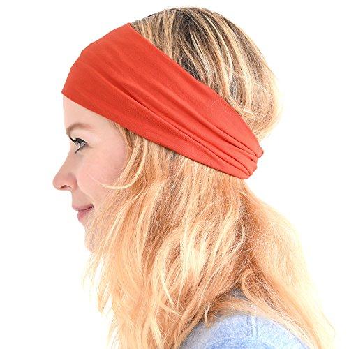 Casualbox Herren Japanisch elastisch Stirnband Headband Haar Band Zubehör Sport V-orange