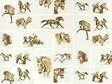 Dekostoff Pferde, wollweiss/braun, Meterware ab 0,5 m