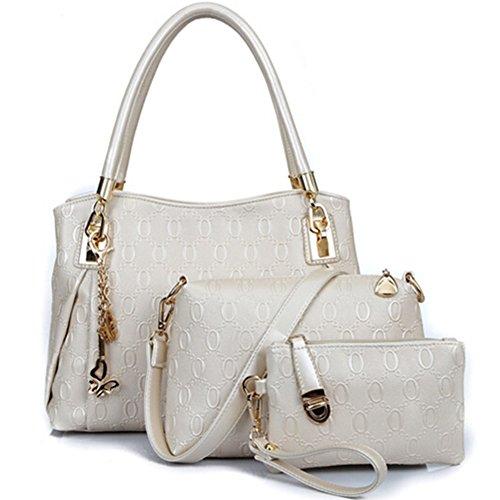 fanhappygo Fashion Retro Leder Damen elegant Bräunung Handtaschen Umschlag Schulterbeutel Umhängetaschen Abendtaschen a set weiß