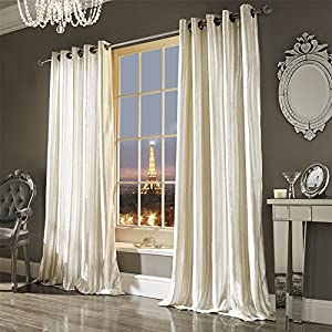 "Kylie Minogue Iliana Oyster Lined Velvet 66"" X 72"" - 168cm X 183cm Ring Top Curtains by Kylie Minogue"