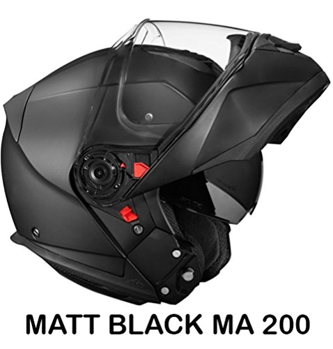 SMK Glide Flip Up Designer Helmet , MATT BLACK MA200 , Matt Black , M - 57 Cms , Plain Visor