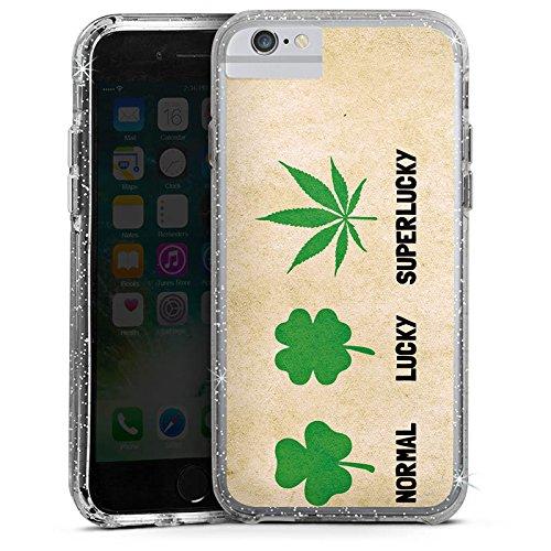 Apple iPhone 7 Plus Bumper Hülle Bumper Case Glitzer Hülle Kleeblatt Cannabis Weed Bumper Case Glitzer silber