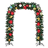GOPLUS Weihnachtsgirlande Weihnachtsdekoration Weihnachtsschmuck mit warmweißen LED Beleuchtung künstliche Rattan Tannengirlande ornamente Weihnachtsgirlande (228x203CM)