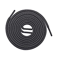 "Thick Shoelaces Round Athletic Shoe Laces (2 Pair) - For Sneaker and Hiking Boot Laces (45"" inches (114 cm), Black-Gray)"