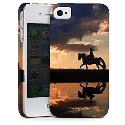 Apple iPhone 5s Tasche Hülle Flip Case Pferd Sonnenuntergang Reiten Premium Case glänzend