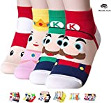 OKIE OKIE più venduti da donna calze Gift – Animal Cat Dog Art Animation character | calzini di Natale regali per donne Amine - Super Mario 4pcs Taglia unica