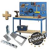 HARTWERK Profi Werkbank Werkstatteinrichtung| EasyBuild Werkzeugschrank | Werkzeugregal mit Lochwand + Zubehör Kit 150 cm breit BLAU