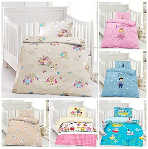 Kinder Bettwäsche, Babybettwäsche 100x135 cm + 40x60 cm 100% Baumwolle für Jungen und Mädchen in verschiedenen Designs Eule Creme (Kleinkind Mädchen Bettwäsche)