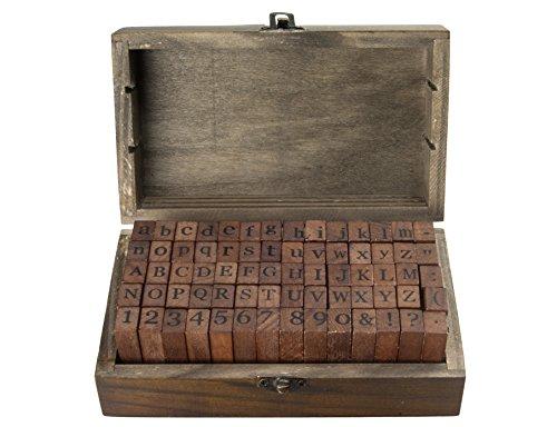 knora 70 - Teiliges Vintage - Stempelset (Großbuchstaben, Kleinbuchstaben, Zahlen u. Symbole) in Dekorativer Holzkiste -