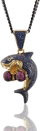 MoCa Jewelry - Collana con ciondolo a forma di squalo da boxe placcata in oro 18 carati, per uomo e donna (oro)