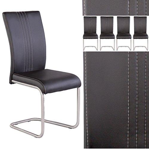 Küche Stuhl Polster (Esszimmerstuhl 4er Set Hochlehner Kunstleder schwarz Freischwinger mit Edelstahllgestell)