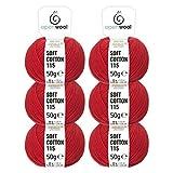 100% Baumwolle in 12 Farben - 300g Set (6 x 50g) zum Stricken & Häkeln - Oeko-Tex Standard 100 zertifizierte Wolle by openwool - Rot