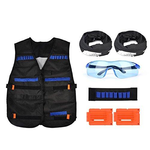Fdit Kit de Chaleco Táctico Exterior Chaleco Muñequera Cartridge Gafas Campana Para Entrenamiento Militar Juego de Caza Para N-Strike Elite Serie Blasters