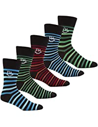 PIERRE ROCHE Men's Designer Cotton Rich Striped Socks Gift Box Set 6-11