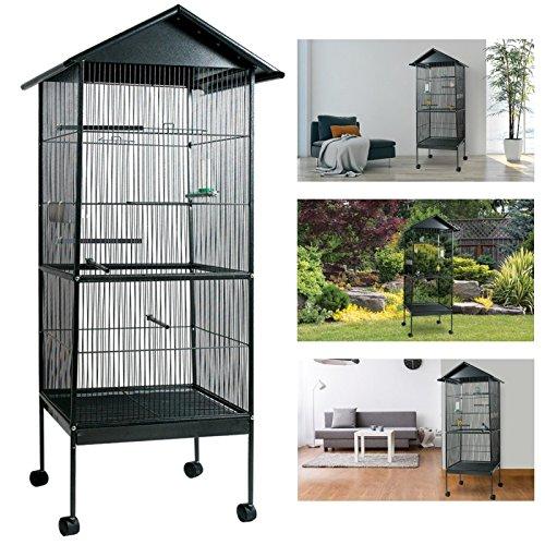 ProBache - Volière cage à oiseaux avec toit 4 roues en métal pour canaris, perruches