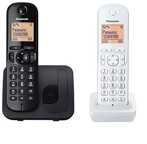 Panasonic kx-tgc212jt1 telefono cordless dect  duo (2 portatili con base nero + bianco), schermo lcd, base design universale