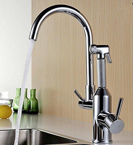 DZW Moderne Messing Swivel Auslauf zwei Griff Küchenarmatur mit herausziehen Seite Spray-Schlauch (Spray Swivel)