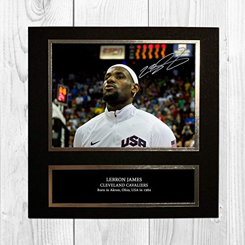 4ef3032f6a059 Lebron James - USA 4 NDB Signed Reproduction Autographed Wall Art - 10 Inch  x 10 Inch Print (Card Mounted)