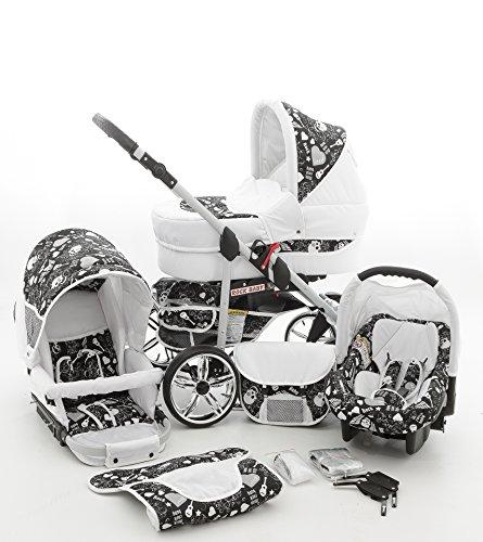 Milk Rock Baby Rock Baby Kinderwagen Komplettset (Autositz & Adapter, Regenschutz, Moskitonetz, Schwenkräder) 02 Weiß & Totenkopf