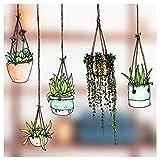 Fünfer-Set Fenster-Sticker/-Aufkleber mit gezeichneten Hängepflanzen-Motiven - Hängetopf-Glasaufkleber - Gartenhaus-Sticker Doppelseitige und selbstklebend zum Schutz gegen Vogelkollisionen