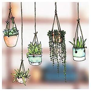 Fünfer-Set Fenster-Sticker/-Aufkleber mit gezeichneten Hängepflanzen-Motiven – Hängetopf-Glasaufkleber – Gartenhaus-Sticker Doppelseitige und selbstklebend zum Schutz gegen Vogelkollisionen