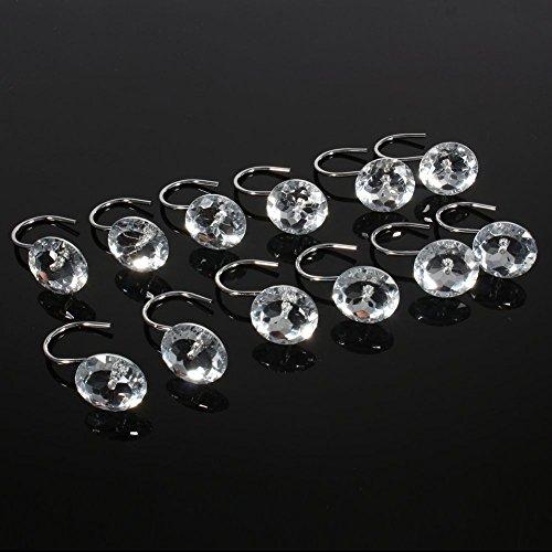 Gem Bad (xshelley Acryl Diamant Duschvorhang Haken Ringe-Cute Kristall Gems Bling Strass Bad Bad Accessoires Set von 12 weiß)