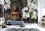Buddha Zen Blumen Orchideen Mandala - Wallsticker Warehouse - Fototapete - Tapete - Fotomural - Mural Wandbild - (3162WM) - XXL - 368cm x 254cm - Papier (KEIN VLIES) - 4 Pieces