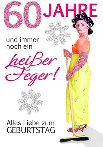 Komma3 Glitter 60 Geburtstag Karte Grußkarte Heißer Feger 16x11cm