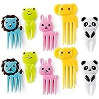 nicebuty diseño de animales de caja de Bento decoración, palillos para aperitivos y tenedores púas de alimentos para bebé (Pack de 10)