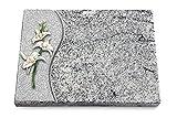 Generic Grabtafel, Grabplatte, Grabstein, Grabkissen, Urnengrabstein, Liegegrabstein Modell Wave 40 x 30 x 3-4 cm Viskont-White-Granit, Poliert inkl. Gravur (Bronze-Color-Ornament Orchidee)