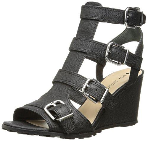 Via Leder Spiga Black Spiga Keilabs盲tze Leder Sandale Keilabs盲tze Via Luxie Luxie drrq60wxS