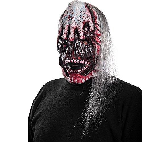 Carnival Toys - Máscara de látex zombi con cara desgarrada y pelo con encabezado, multicolor (663)