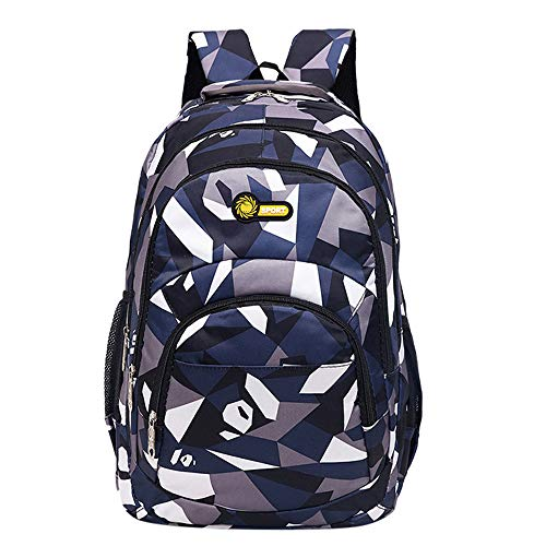 HCFKJ Schultasche, Rucksack Teenager Mädchen Jungen Schulrucksack Camouflage Printing Studenten Taschen (Dunkelblau, 32cm*45cm*14cm)