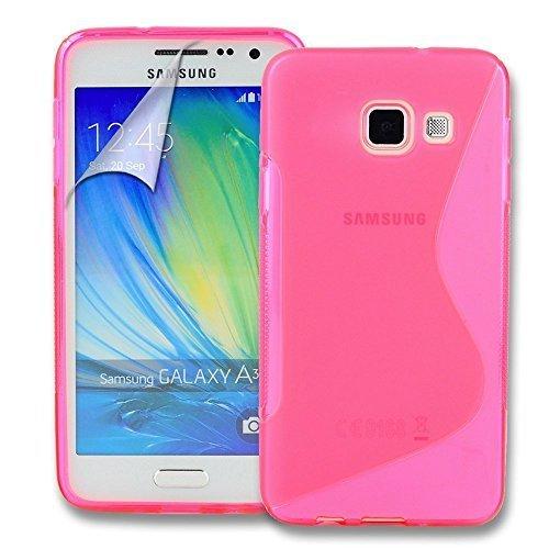 Connect Zone Samsung Galaxy A3 (2016) S Line Gel Silicone Étui + Protection Ecran Protection Et Lingette De Polissage - Rose S Line Gel, -