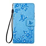 Huawei P9 Lite Case,Huawei P9 Lite Cover,Cozy Hut Bling Wallet Case for Huawei P9 Lite,Luxury Elegant Bling Shiny Glitter Diamond Butterfly Flower Design Book Style Leather Magetic Wallet Flip Case Cover with Rope/Strap and Stand for Huawei P9 Lite - blue
