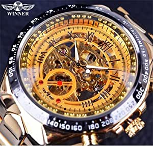 T-WINNER Designer Black Golden Automatic Skeleton Sport Watch For Men