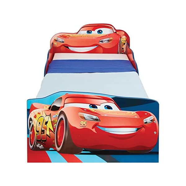 Hello Home Disney Cars Kids Toddler Bed with underbed Storage, Wood, Red, 143x77x63 cm  Perfect for transitioning your little one from cot to first big bed The perfect size for toddlers, low to the ground with protective side guards to keep your little one safe and snug Two handy underbed, fabric storage drawers 5