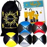 Jonglierbälle 5er Set: Profi Beanbag Bälle aus Glattleder