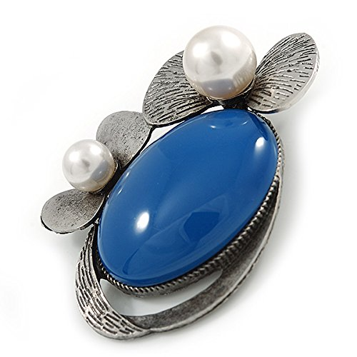 Royal Blue Ceramic Oval Stone with Pearl Flowers Brooch/Pendant In Pewter Tone Metal - 70mm uLaYsf