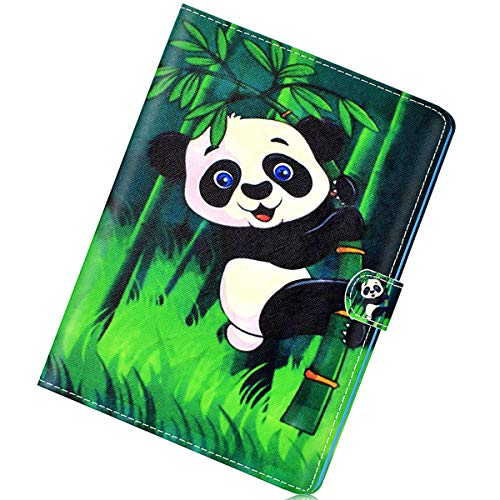 Herbests Kompatibel mit Samsung Galaxy Tab A 10.1 T580 Hülle Ultra Dünn Schutzhülle PU Ledertasche Smart Cover Lederhülle Ständer mit Pencil Halter Auto Schlaf/Wachen Magnetisch Kartenfächer,Panda